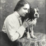 Helen Keller with her bull terrier, Phiz, 1902